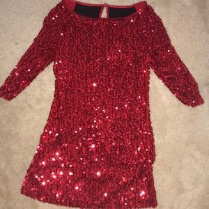 Red Sequined Dance Costume Dress